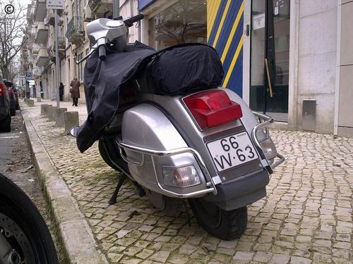 Vespa deflated pneumatic tire aka Vespa flat tire