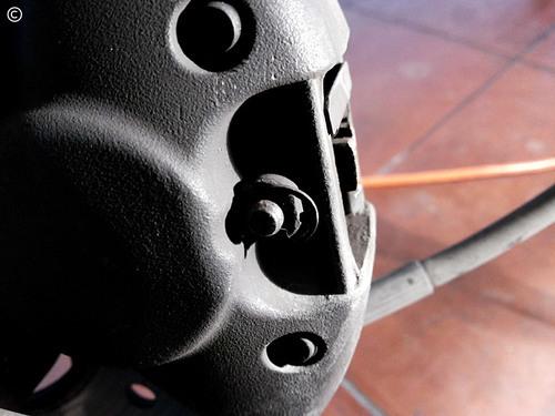 Mudança pastilhas travão, Vespa PX - retira / coloca freio de segurança